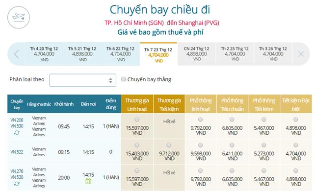 Giá vé máy bay từ TPHCM đi Thượng Hải