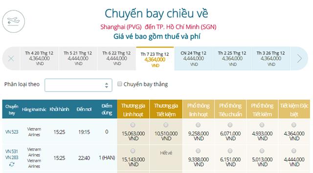 Giá vé máy bay từ Thượng Hải đi TPHCM