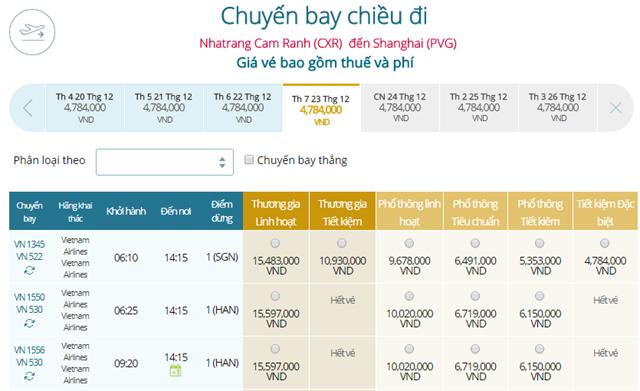 Giá vé máy bay từ Thượng Hải đi Quy Nhơn
