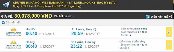 Giá vé máy bay từ Hà Nội đi St Louis