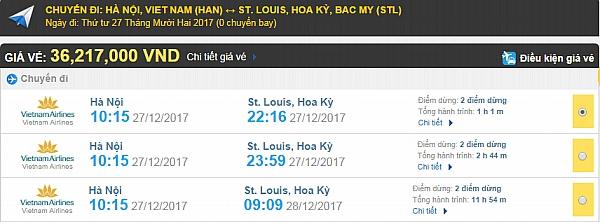 Giá vé máy bay từ Hà Nội đi St Louis hãng Vietnam Airlines