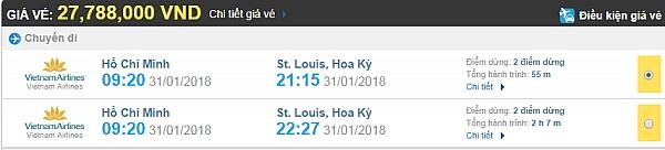 Giá vé máy bay từ TPHCM đi St Louis Vietnam Airlines