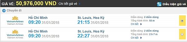 Bảng giá vé máy bay từ TPHCM đi St Louis Vietnam Airlines