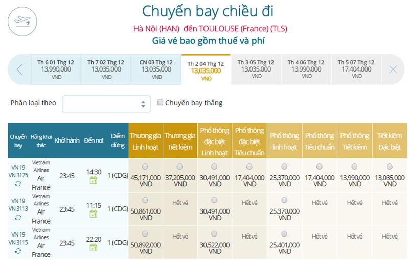 Giá vé máy bay từ Hà Nội đi Toulouse