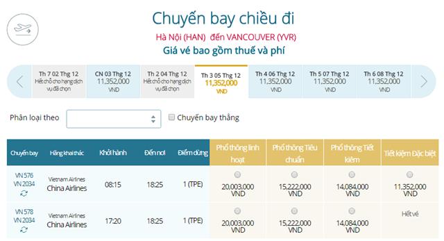 Giá vé máy bay từ Hà Nội đi Vancouver