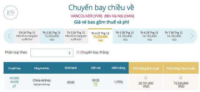 Giá vé máy bay từ Vancouver đi Hà Nội