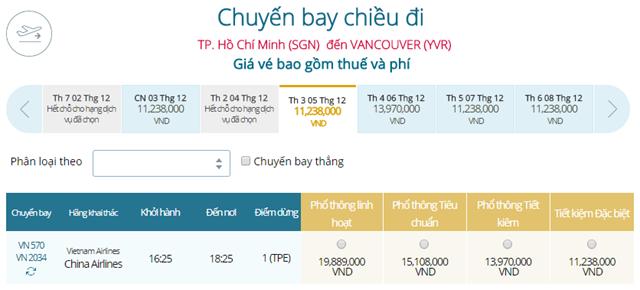 Giá vé máy bay từ TPHCM đi Vancouver