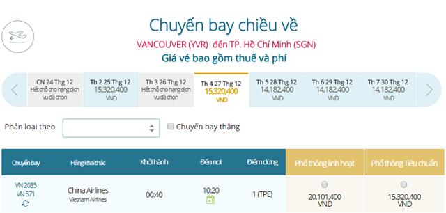 Giá vé máy bay từ Vancouver đi TPHCM