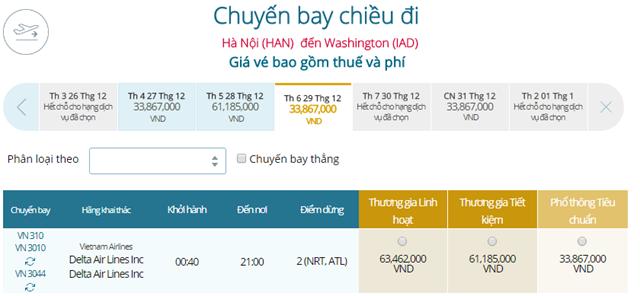 Giá vé máy bay từ Hà Nội đi Washington
