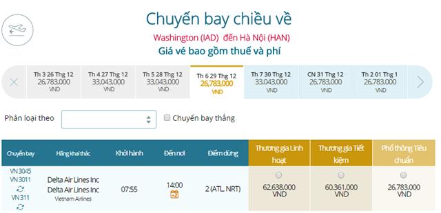 Giá vé máy bay từ Washington đi Hà Nội