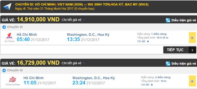 Giá vé máy bay từ TPHCM đi Washington