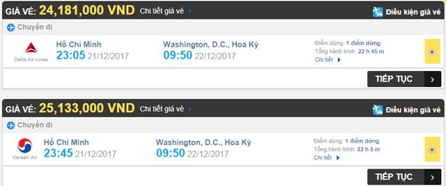Giá vé máy bay từ Washington đi TPHCM