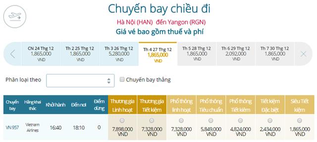 Giá vé máy bay từ Hà Nội đi Yangon