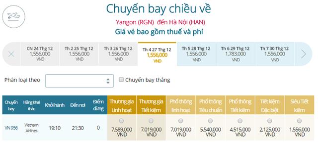 Giá vé máy bay từ Yangon đi Hà Nội
