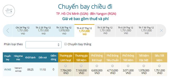 Giá vé máy bay từ TPHCM đi Yangon