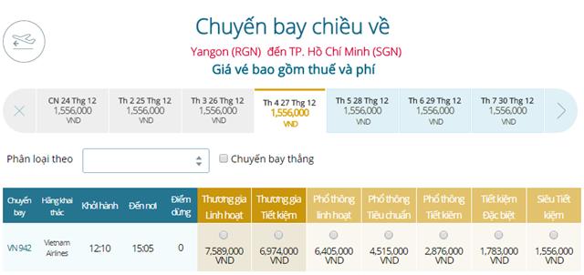 Giá vé máy bay từ Yangon đi TPHCM