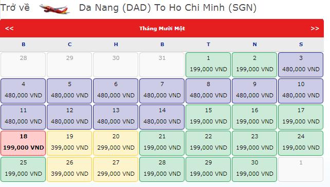 Vé máy bay khuyến mãi Đà Nẵng đi TP.HCM