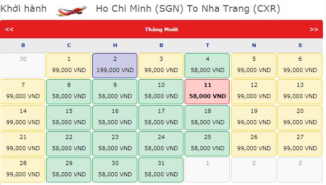 Vé máy bay đi Nha Trang hãng VietJet Air chỉ 58K