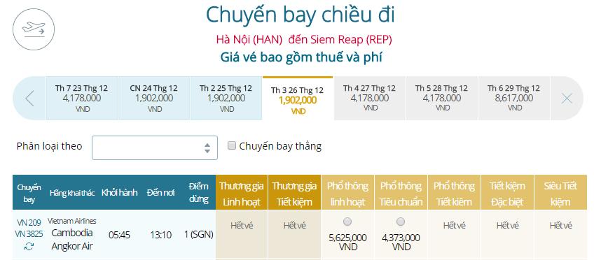 Giá vé máy bay từ Hà Nội đi Siem Reap