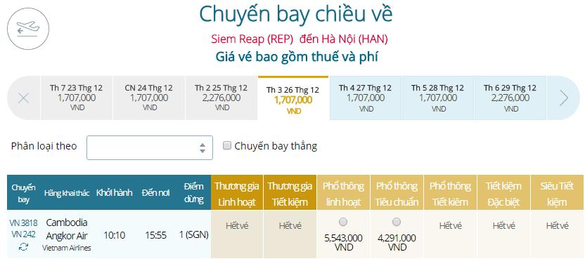Giá vé máy bay từ Siem Reap đi Hà Nội