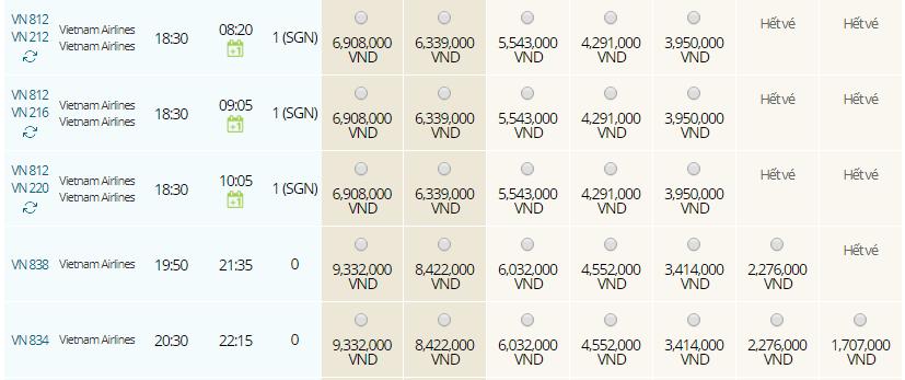 Giá vé máy bay từ Siem Reap đi Hà Nội hãng Vietnam Airlines