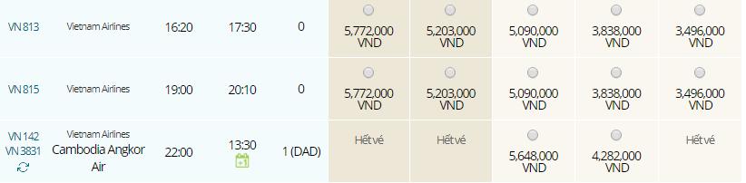 Giá vé máy bay từ Siem Reap đi TPHCM