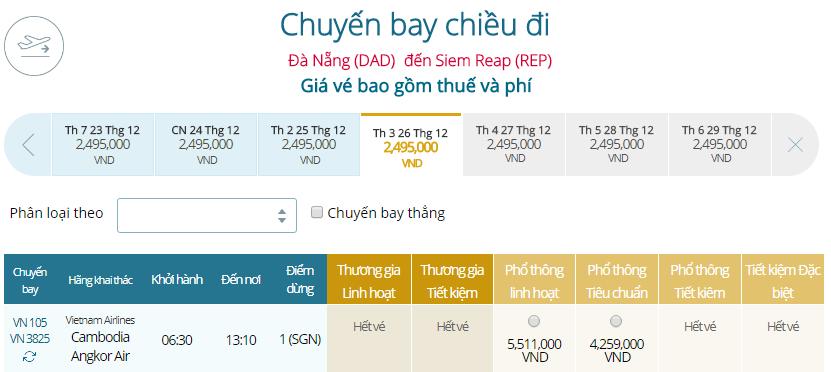 Giá vé máy bay từ Đà Nẵng đi Siem Reap