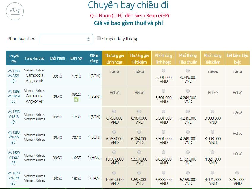Giá vé máy bay từ Quy Nhơn đi Siem Reap hãng Vietnam Airlines
