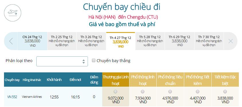 Giá vé máy bay từ Hà Nội đi Thành Đô