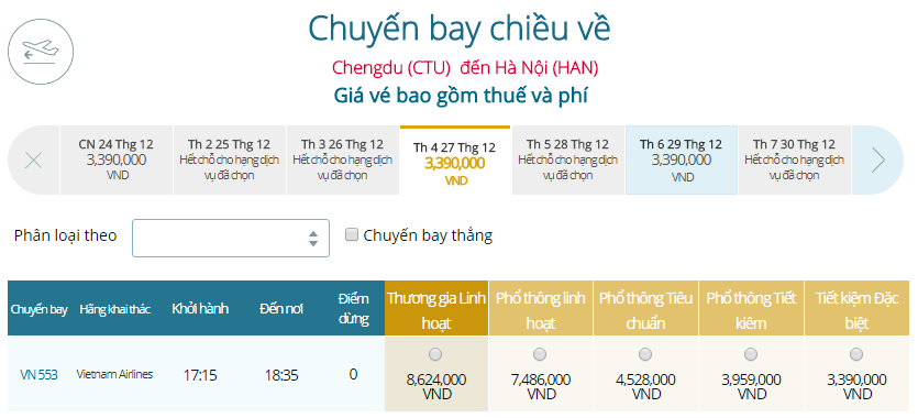 Giá vé máy bay từ Thành Đô đi Hà Nội