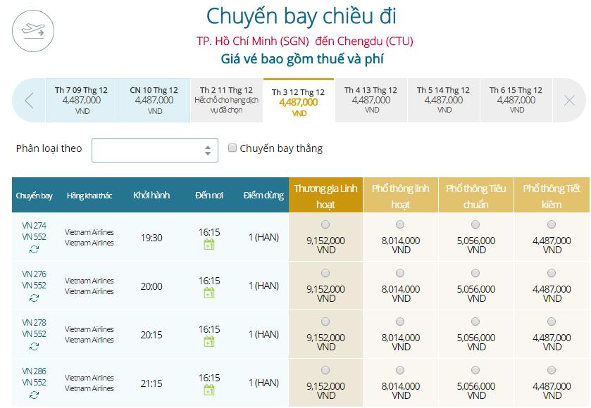 Giá vé máy bay từ TPHCM đi Thành Đô