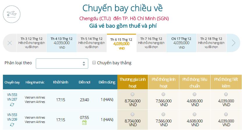 Giá vé máy bay từ Thành Đô đi TPHCM