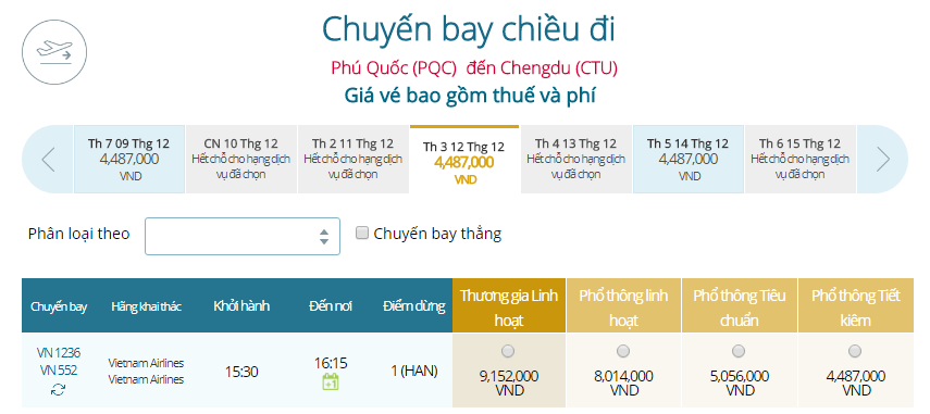 Giá vé máy bay từ Phú Quốc đi Thành Đô