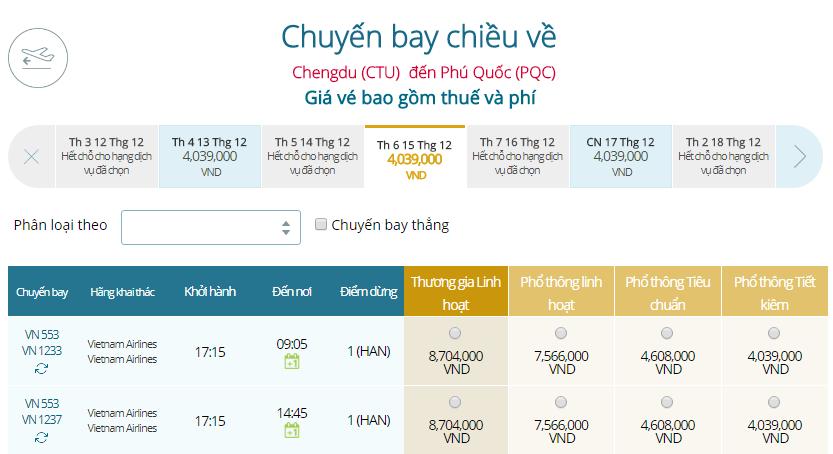 Giá vé máy bay từ Thành Đô đi Phú Quốc