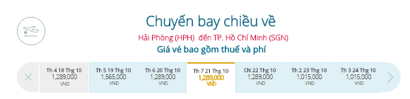 Vé máy bay khuyến mãi Hải Phòng đi TPHCM