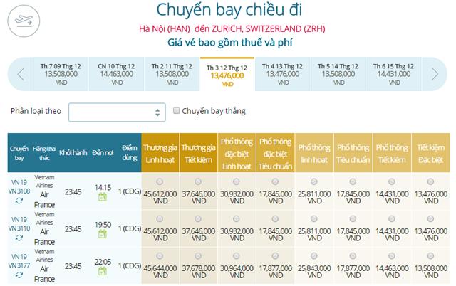 Giá vé máy bay từ Hà Nội đi Zurich