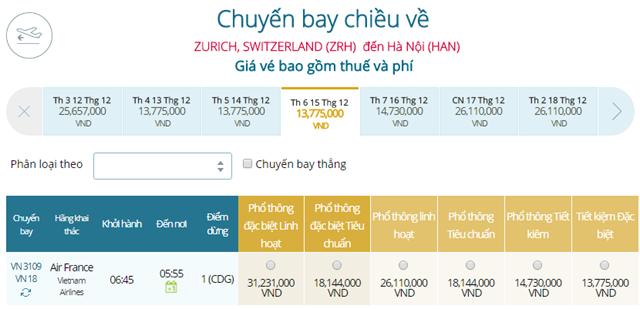 Giá vé máy bay từ Zurich đi Hà Nội