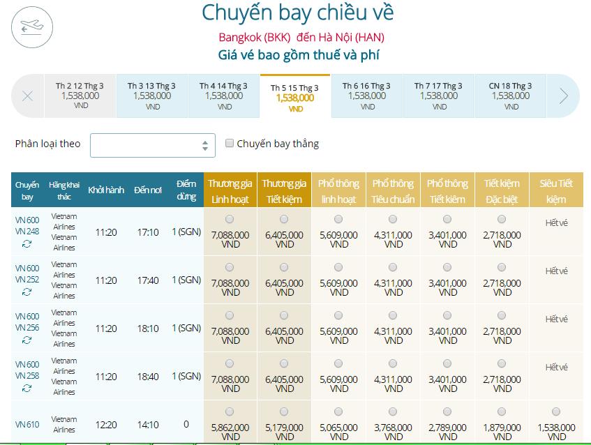 Giá vé máy bay Vietnam Airlines Thái Lan đi Hà Nội