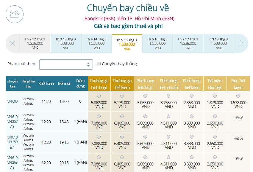 Giá vé máy bay Vietnam Airlines Thái Lan đi TPHCM