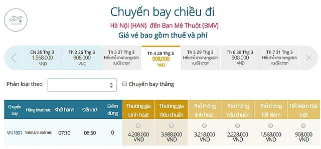 Giá vé máy bay Hà Nội đi Buôn Ma ThuộtVietnam Airlines