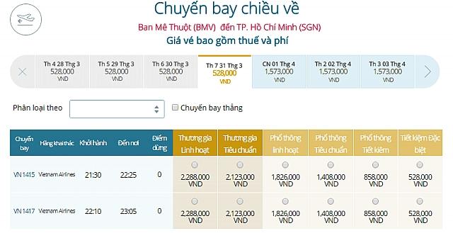 Giá vé máy bay Buôn Ma Thuột đi TpHCM Vietnam Airlines