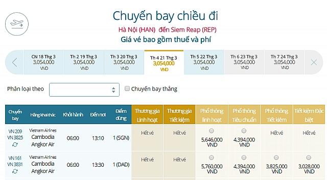 Giá vé máy bay Vietnam Airlines từ Hà Nội đi Siem Riep