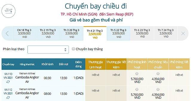 Giá vé máy bay Vietnam Airlines TPHCM đi Siem Reap