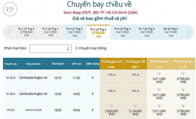 Giá vé máy bay Vietnam Airlines từ Siem Reap đi TPHCM