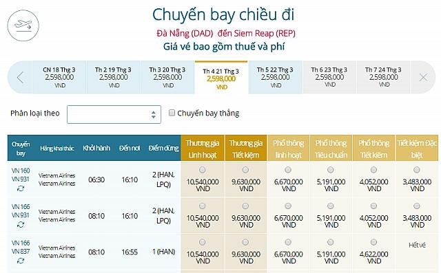 Giá vé máy bay Vietnam Airlines từ Đà Nẵng đi Siem Reap