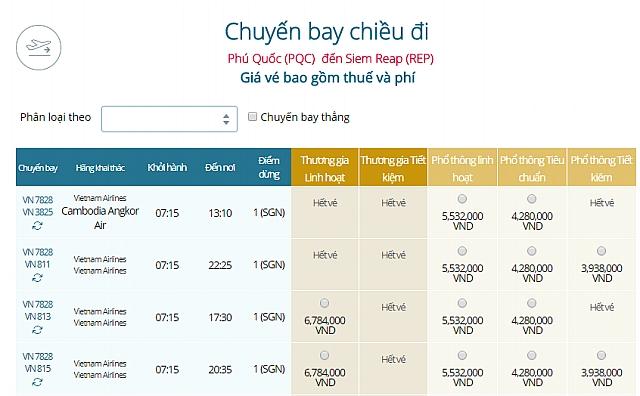 Giá vé máy bay Vietnam Airlines từ Phú Quốc đi Siem Reap