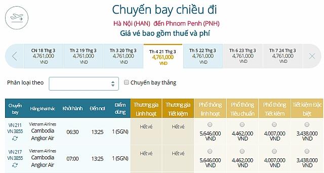 Giá vé máy bay Vietnam Airlines từ Hà Nội đi Phnom Penh