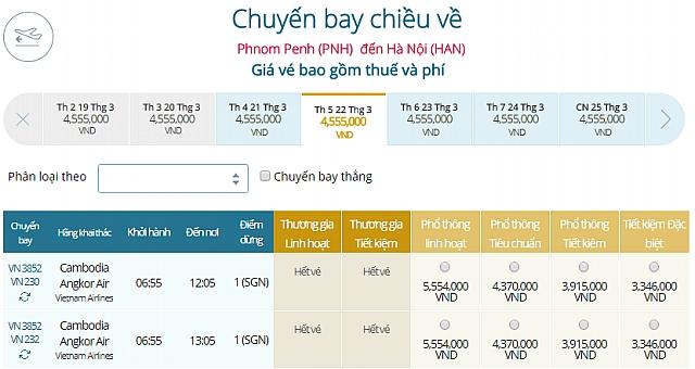 Giá vé máy bay Vietnam Airlines từ Phnom Penh đi Hà Nội