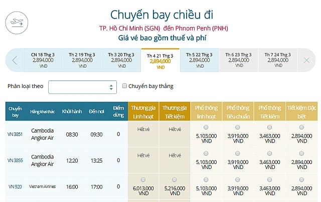 Giá vé máy bay Vietnam Airlines từ TPHCM đi Phnom Penh