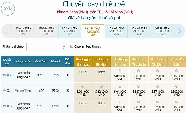 Giá vé máy bay Vietnam Airlines từ Phnom Penh đi TPHCM
